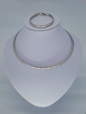 Omega ketting & armband, ruit, edelstaalset