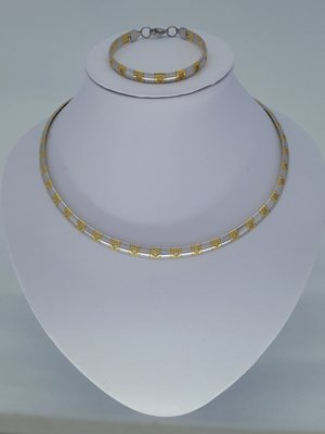 Omega ketting & armband, duocolor, bloemetje, edelstaalset
