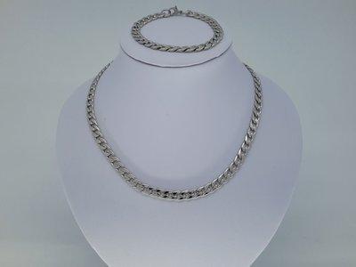 Heren ketting & armband, 7 zeer open gourmet, edelstaalset