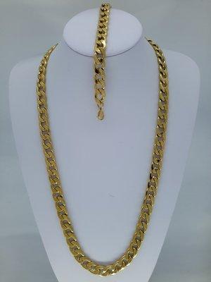 Heren ketting & armband goudkl, lang, 12,5 grove gourmet, edelstaalset