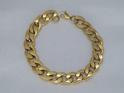 Heren armband goudkl, lang, 12,5 grove gourmet, edelstaal