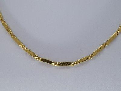 ketting 3, parallellogram, 4 groef, goudkl edelstaal, 45