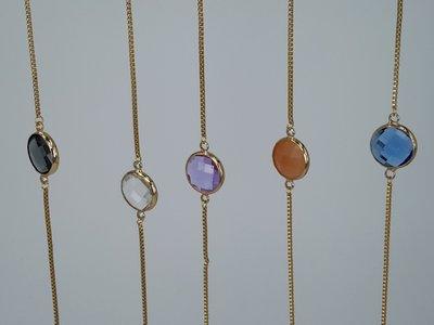 super fijne schakel armband goudkl, rond facet kristalglas, edelstaal, in 5 kleuren
