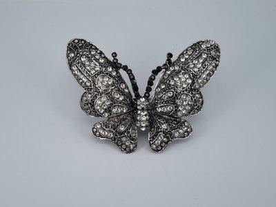 Sjaalring, vlinder, zwart wit strass, magneetsluiting
