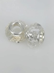 Bedel pandorastyle facet glas, wit, per 16