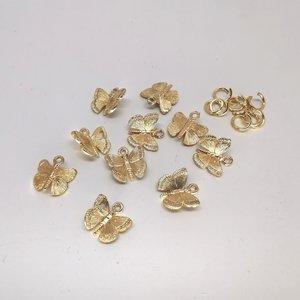 10 set goudkleurig vlinder bedel met ringetjes,