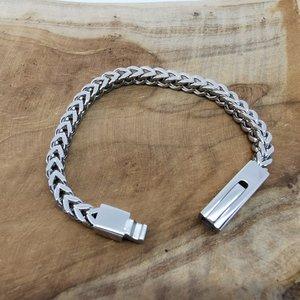 Armband 17cm, vierkant schakels, drukslot sluiting, edelstaal