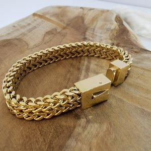 goudkleurige Armband 17cm, dubbele VV schakel, drukslot sluiting, edelstaal