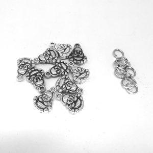 Tibetaanse zilver Boeddha bedel dubbel zijdig met ringetjes,