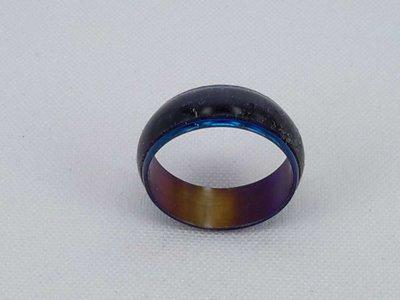 Ringen blauw, 3d blauwe Kattenoog, edelstaal