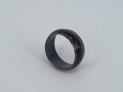 Ringen zwart, 3d zwart Kattenoog, edelstaal