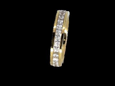 Edelstaal Ringen Goudkleurig gezet rond omheen met facet geslepen kristal