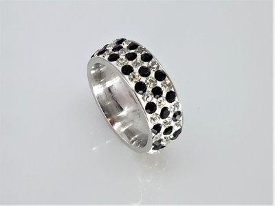 Brede Ringen, wit/zwart facet strass, edelstaal