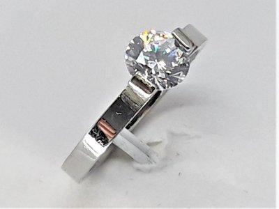 Ringen, 6 mm kristaldiamant, edelstaal