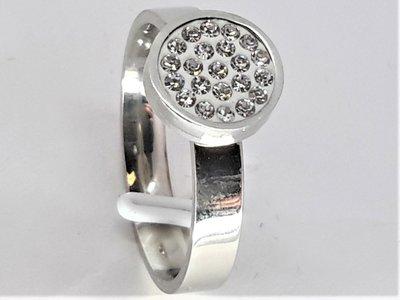 Ringen, 9mm disk, strassjes, edelstaal
