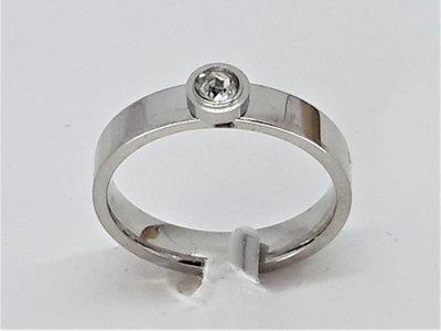 Ringen, 3mm zirkonia, edelstaal