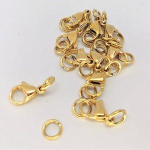 Karabijn sluiting  goudkleur 10 setje Roestvrij staal (RVS) , 12mm incl 2 open ring van 4 mm.