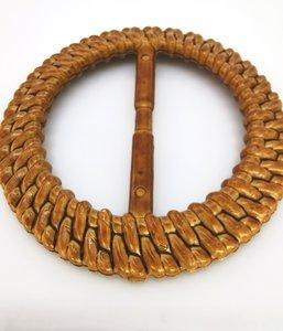 Sjaal ring-bamboe look-handige ring om een sjaal/omslagdoek vast te zetten zonder gaatjes maken.
