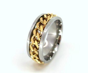 Stoer RVS ringen met losse schakel goudkleur ketting in midden in die je mee kan draaien doos 36st