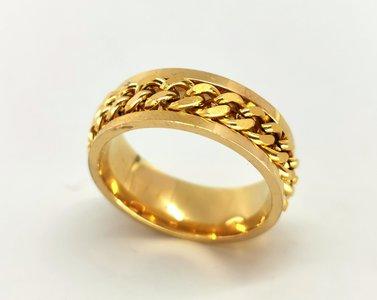 RVS goud kleur ringen met losse schakel ketting in midden in die je mee kan draaien. doos 36st