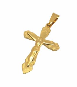 Prachtig bewerkt goudkleurig Rvs kruis met jezus,