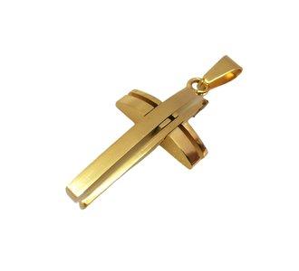 Stijlvol strak 316L Rvs goudkleur kruis.