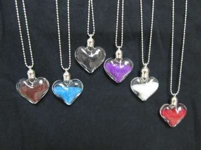 "Bolletjesketting, zilverkleurig, transparante ""hartje"" glashanger fijne 'pareltjes', 6 kleuren"