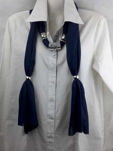 Sjaal met mix koppelstuk en ringen kleur: donker blauw.