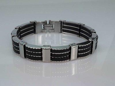 Edelstalen schakel armband met Zwart Rubber.