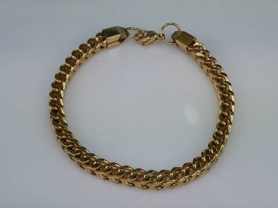 Edelstaal goudkleurig Armband 24 cm, vierkant gourmet schakel.