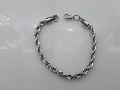 Edelstaal, koord armband 18-20 cm