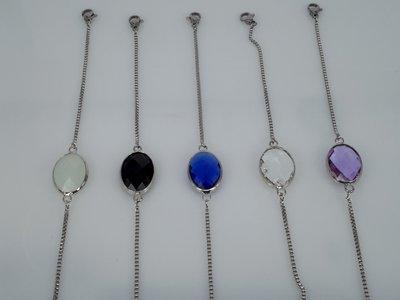 super fijne schakel armband, ovaal facet kristalglas, edelstaal, in 5 kleuren